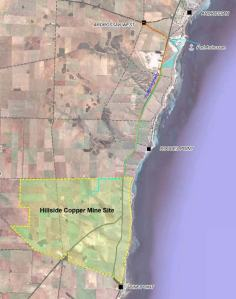 Map showing location of proposed Hillside Project in relation to Ardrossan and Pine Point on Yorke Peninsula, South Australia