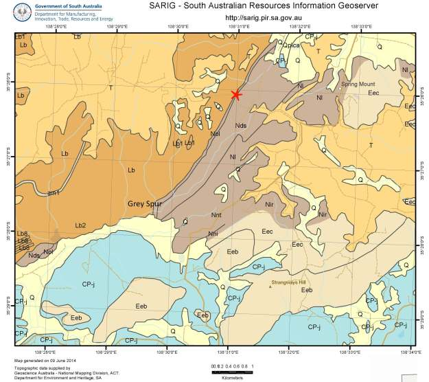 Figure 6:  Geological map showing site location (red star) and distribution of basal Proterozoic conglomerate (Nol Aldgate Sandstone). Geology as follows:  Orange-brown (Lb) = basement Barossa Complex; dark brown (NoI, Nds, Nl etc) = Proterozoic; pale brown (Eec, Eeb etc) = Cambrian Kanmantoo Group; blue (CP-j) = Permian glacigene sediments; orange (T) = undifferentiated Tertiary weathered  zone materials; yellow (Q) = undifferentiated Quaternary alluvials.
