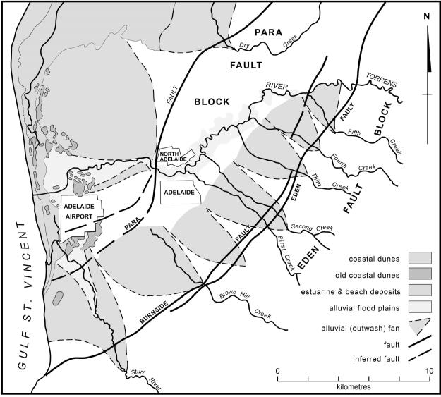 Fig 1. Adelaide Plains and western slopes of Mount Lofty Ranges, including diagrammatic representation of alluvial fans associated with major streams (after Aitchison et al. 1954; Twidale 1976).
