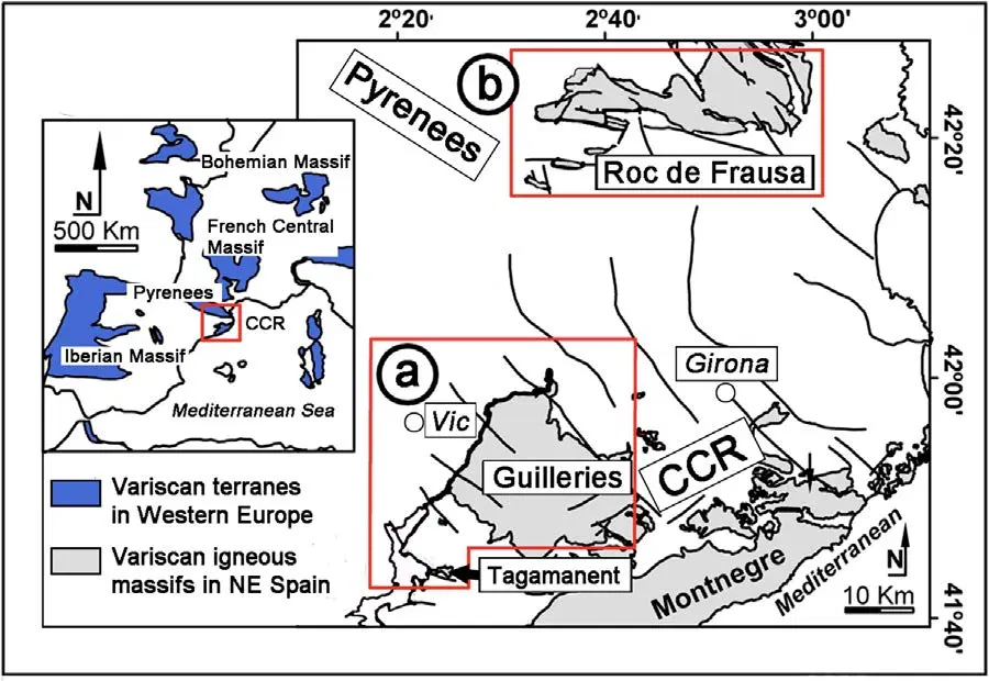 Figure 1. Field locations of albitized granites below the Triassic unconformity in Spain. (a) Guilleries Massif. (b) Roc de Frausa Massif. CCR: Catalan Coastal Ranges. From Fabrega et al. (2019).